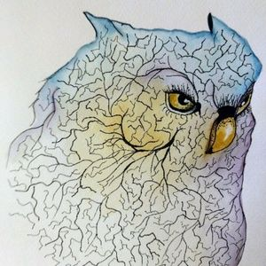 Other - SALE...PEN AND WATERCOLOR OWL  11 X 14